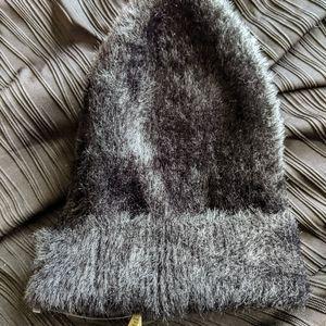 NWOT Michael Stars Black Faux Fur Beanie Hat